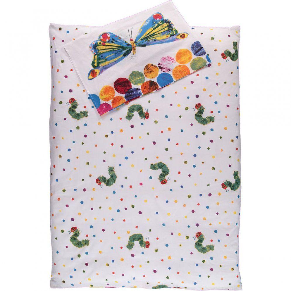 Kinderbettwäsche Raupe Nimmersatt 100x135cm Weißgrün Awg Mode