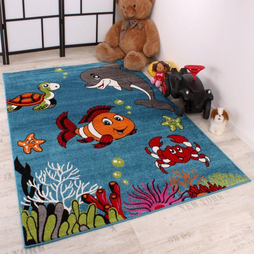 Kinderteppich Clown Fisch Aqua Kinderzimmer Teppich In Türkis Grün von Kinderzimmer Teppich Für Jungs Photo