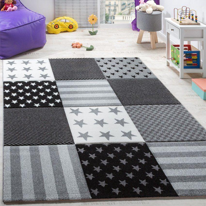 Kinderteppich Sterne Muster Kurzflor Konturenschnitt Karo Design von Teppich Mit Sternen Grau Photo