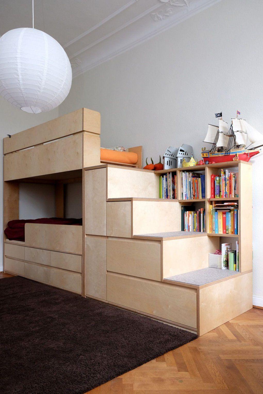 Kinderzimmermöbel Etagenbett  Stockbett Mit Treppe Und Stauraum von Hochbett Treppe Mit Stauraum Photo