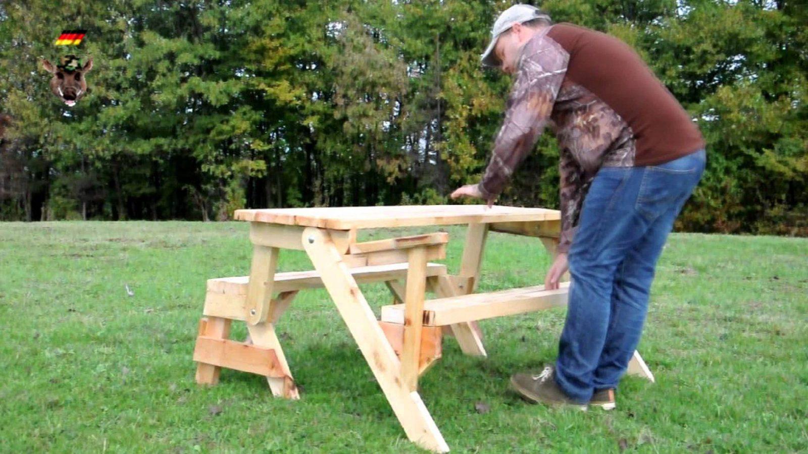 Klappbare Gartentisch Mit Holzbank Sitzbank Massiv Ausziehbar  Youtube von Tisch Bank Kombination Bauanleitung Bild