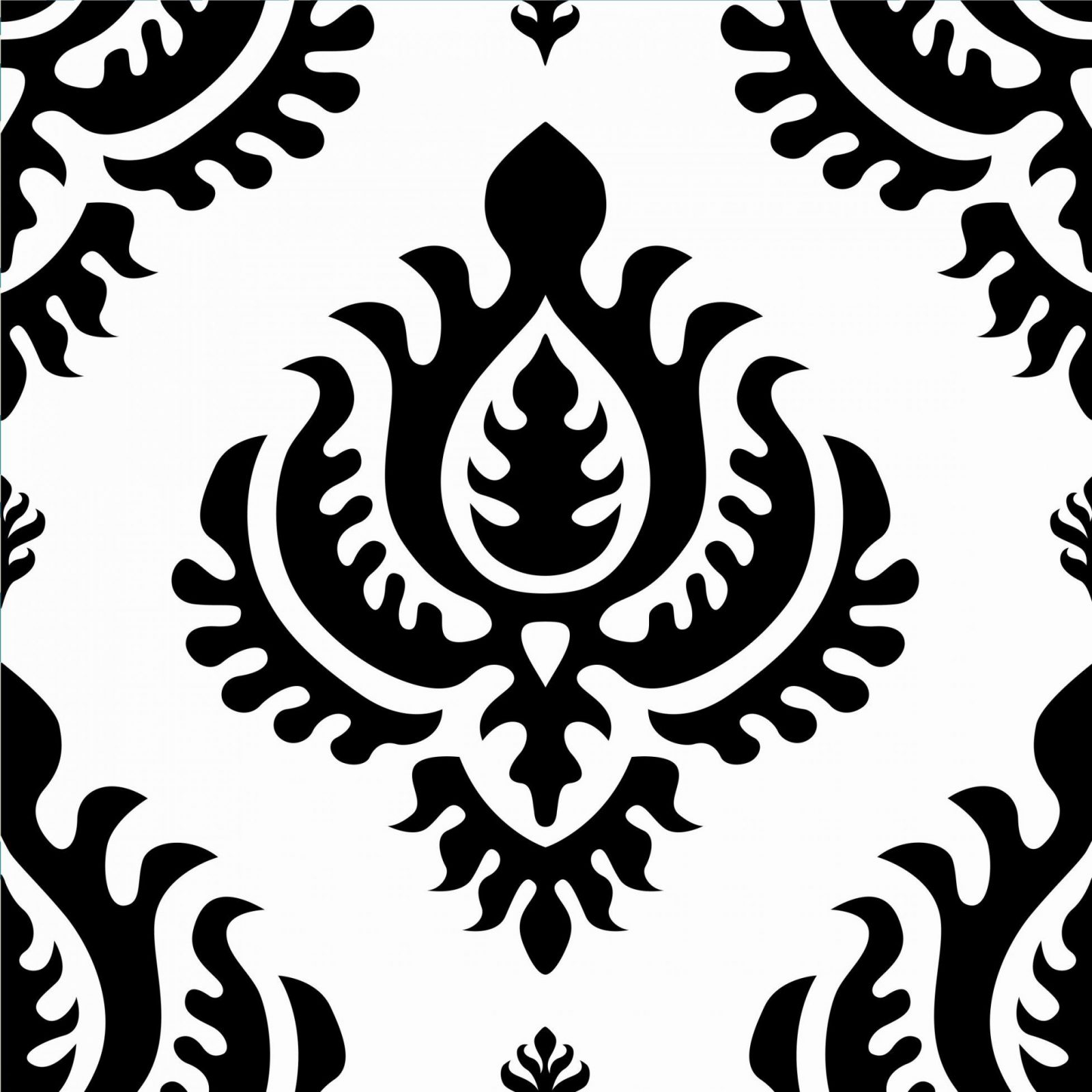 Klebefolie  Neo Barock Schwarz Weiss Damast Muster  Selbstklebefolie von Barock Tapete Schwarz Weiß Photo