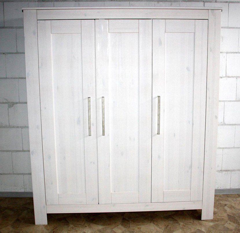 Kleiderschrank 3Türig 163X190X63Cm Kiefer Massiv Weiß Gewachst Avec von Kiefer Gelaugt Geölt Weiß Streichen Photo