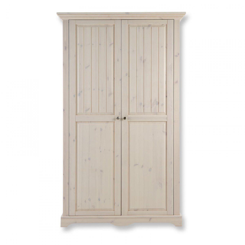 Kleiderschrank Lotta  Massivholz  Weiß Gewischt  120 Cm Breit von Kleiderschrank Weiß 120 Cm Breit Photo
