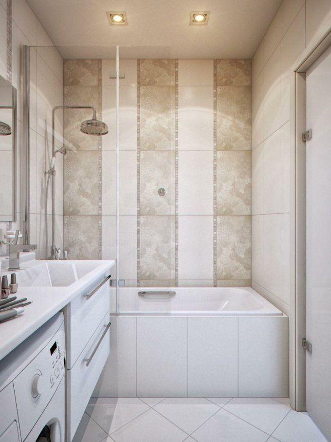 Kleine Bäder Fliesen Streifen Beige Weiss Badewanne Dusche von Badewanne Dusche Kleines Bad Photo