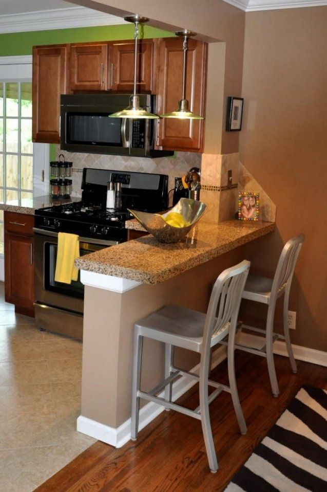 Kleine Gemauerte Küchentheke Mit Granitplatte  Home  Pinterest von Bar Beleuchtung Selber Bauen Bild