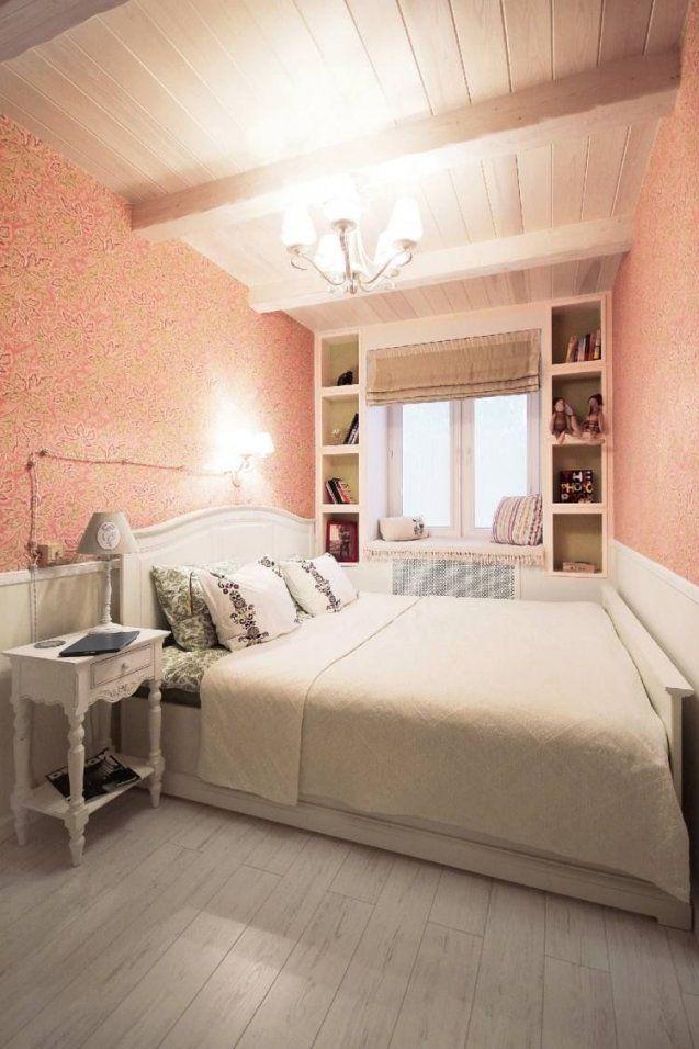 Kleines Schlafzimmer In Weiß Und Koralle Mit Grünen Akzenten  Haus von Schlafzimmer In Weiß Einrichten Bild