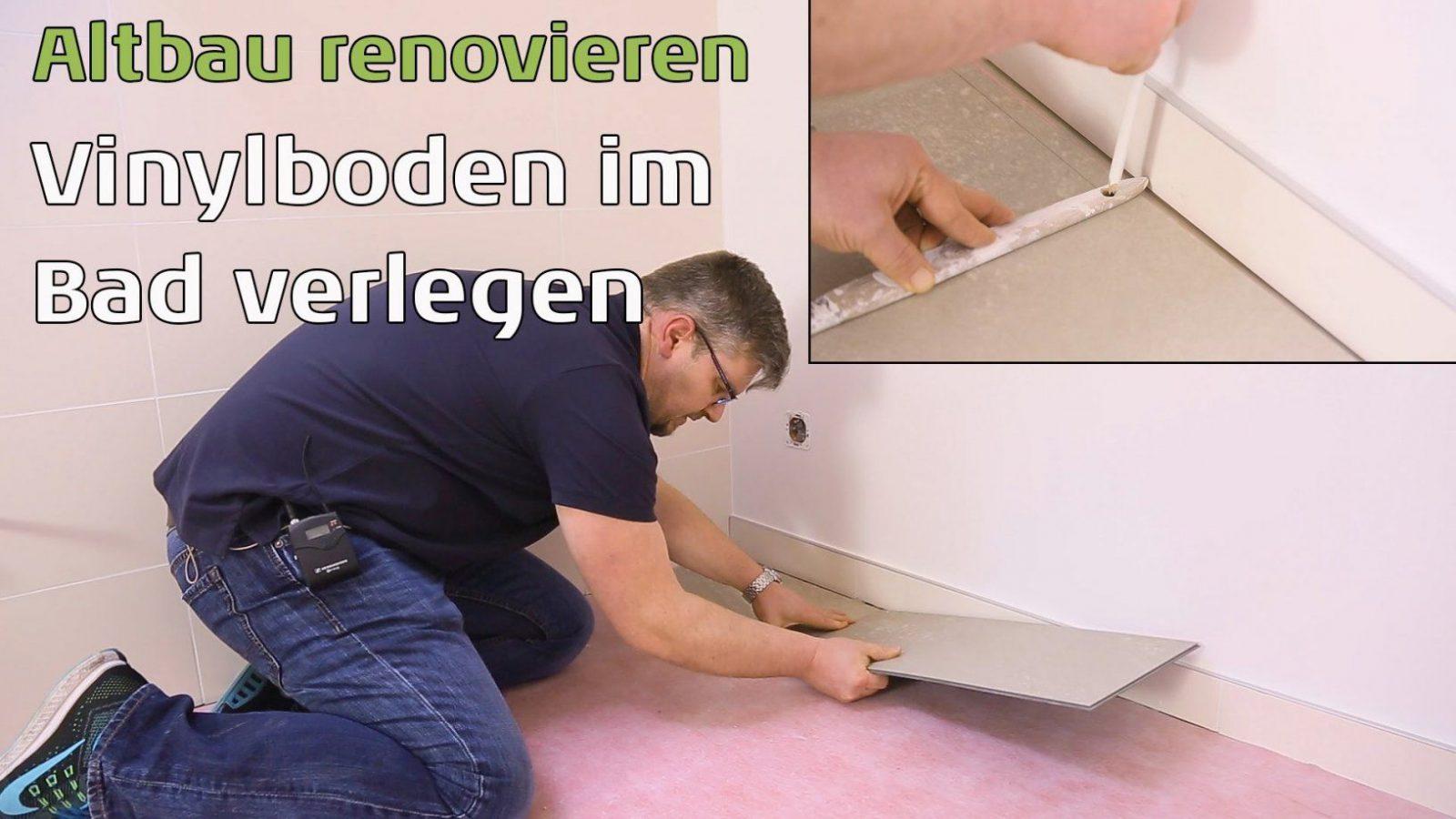 Klickvinyl Im Altbau  Bodenbelag Im Badezimmer Verlegen  Youtube von Vinyl Im Bad Verlegen Bild