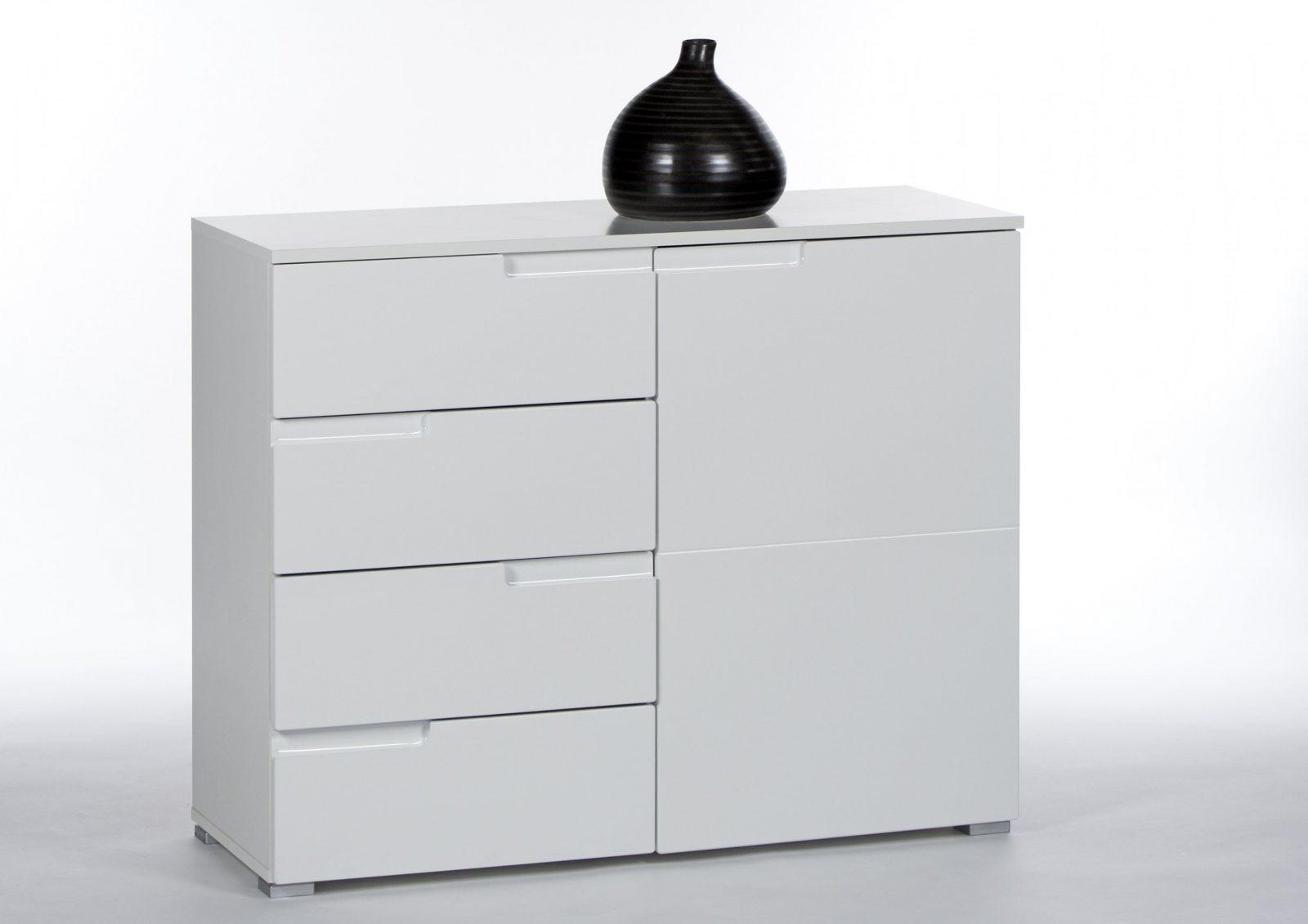 Kommode Hochglanz Weiss Mit 1 Tür Und 4 Schubkästen von Kommode Weiß Hochglanz 100 Cm Breit Bild