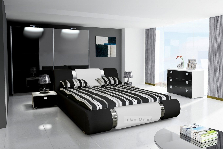 Komplett Schlafzimmer Novalis Hochglanz Schwarz  Weiß von Schlafzimmer Komplett Hochglanz Weiss Photo