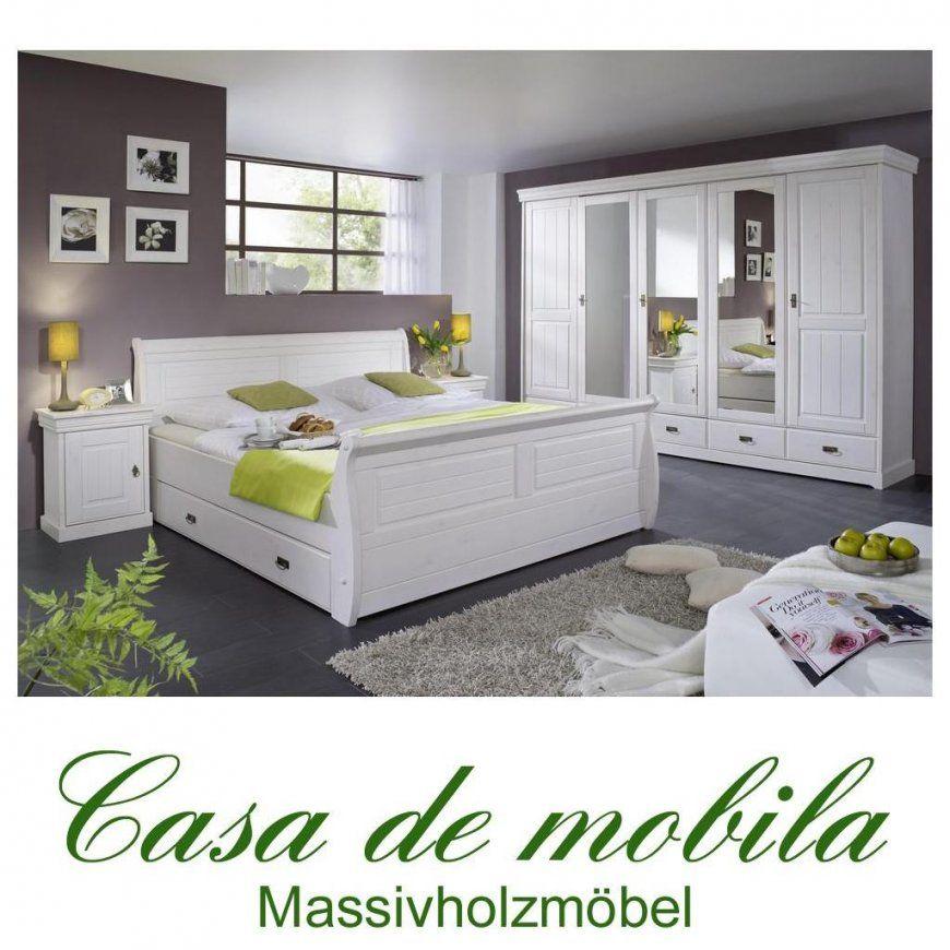 Komplettes Schlafzimmer Weiss 4Teilig Komplett Holz Kiefer Neapel von Schlafzimmer Komplett Weiß Landhaus Photo