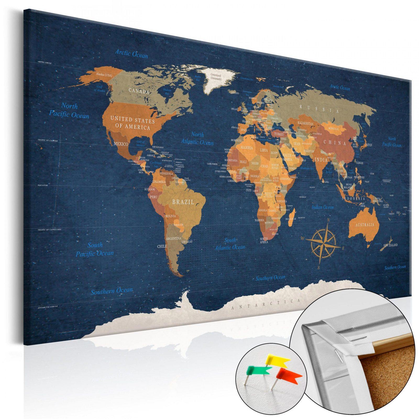 Kork Pinnwand Weltkarte Wandbilder Landkarte Leinwand Bilder Xxl Kc von Weltkarte Kork Selber Machen Bild