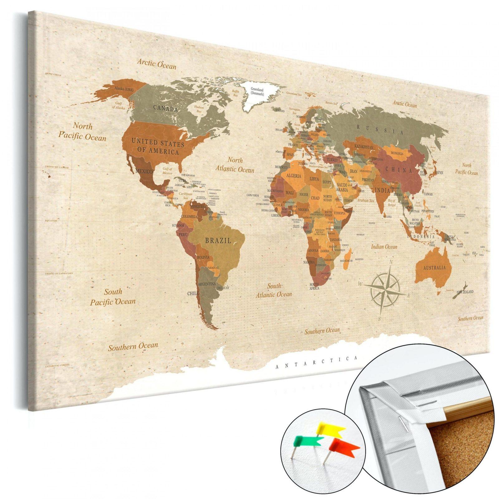 Kork Pinnwand Weltkarte Wandbilder Landkarte Leinwand Bilder Xxl von Weltkarte Kork Selber Machen Photo