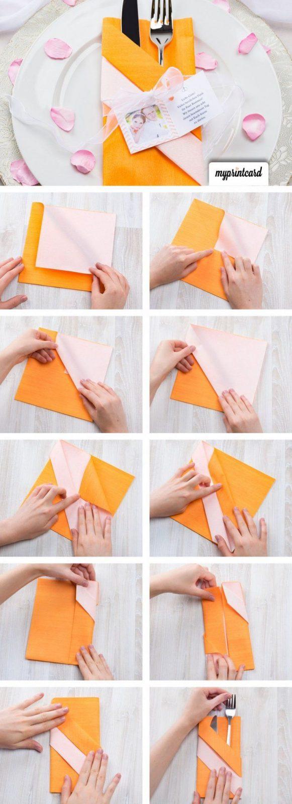 Kreativ Servietten Falten Die Bestecktasche  Servetten 60Ste von Bestecktaschen Aus Servietten Falten Photo