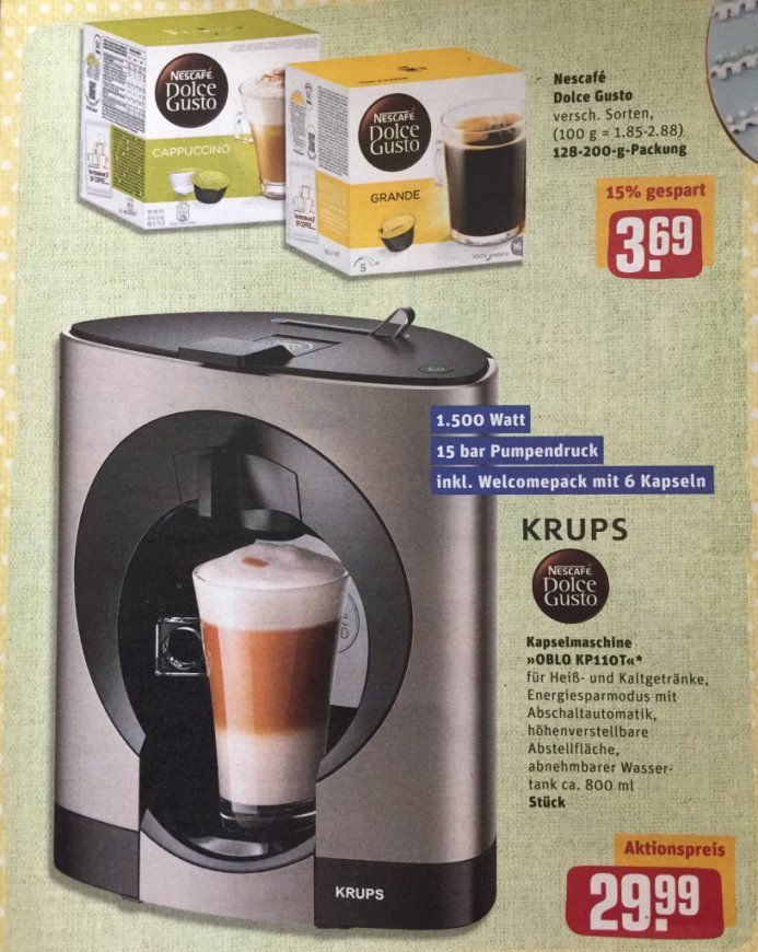 Krups Dolce Gusto Nescafé Oblo Titanium Exklusiv Kp110T Für 2999 von Dolce Gusto Angebot Real Bild