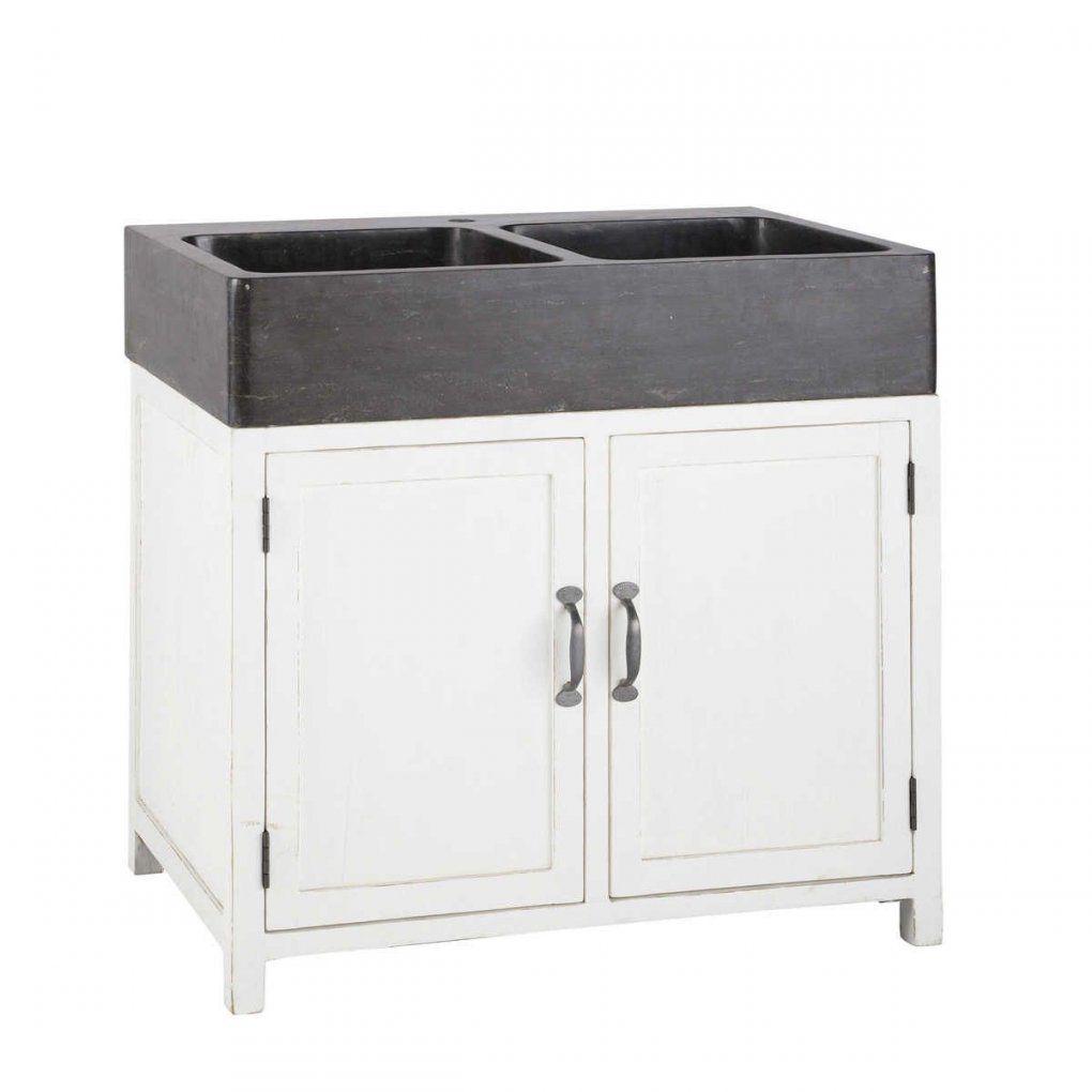 Küchenunterschrank Aus Recyclingholz Mit Spüle B 90 Cm Weiß von Küchen Unterschrank Mit Spüle Photo