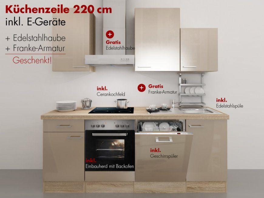 Küchenzeile 220 Cm Kaschmir Glanz Mit Edelstahlhaube Und von Küchenzeile 220 Cm Mit Kühlschrank Photo