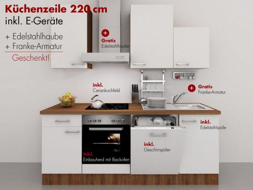 Küchenzeile 220 Cm Weiß Nussbaum Mit Edelstahlhaube Und von Küchenzeile 220 Cm Mit Kühlschrank Bild