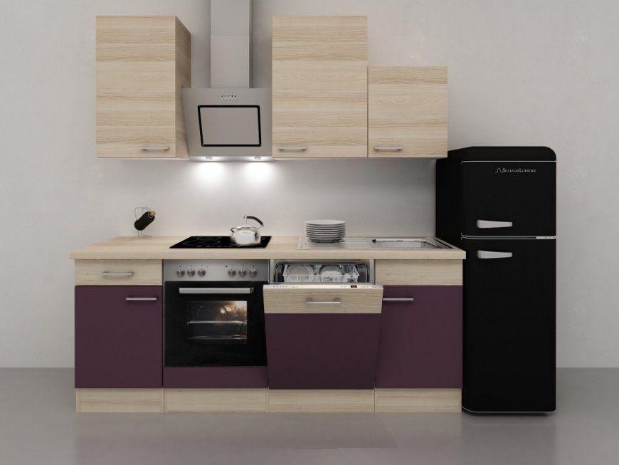 Küchenzeile 280 Cm Aubergine Akazie Mit Schwarzem Retro Kühlschrank von Küchenzeile Mit Elektrogeräten Ohne Kühlschrank Bild