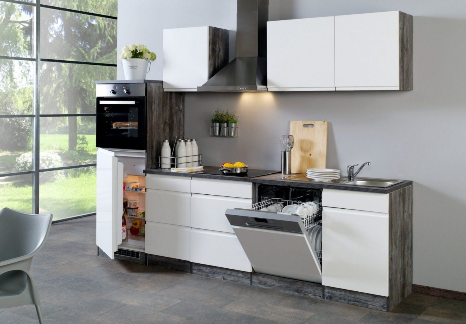 Küchenzeile Cardiff  Küche Mit Egeräten  Breite 280 Cm von Küchenzeile 220 Cm Mit Kühlschrank Photo