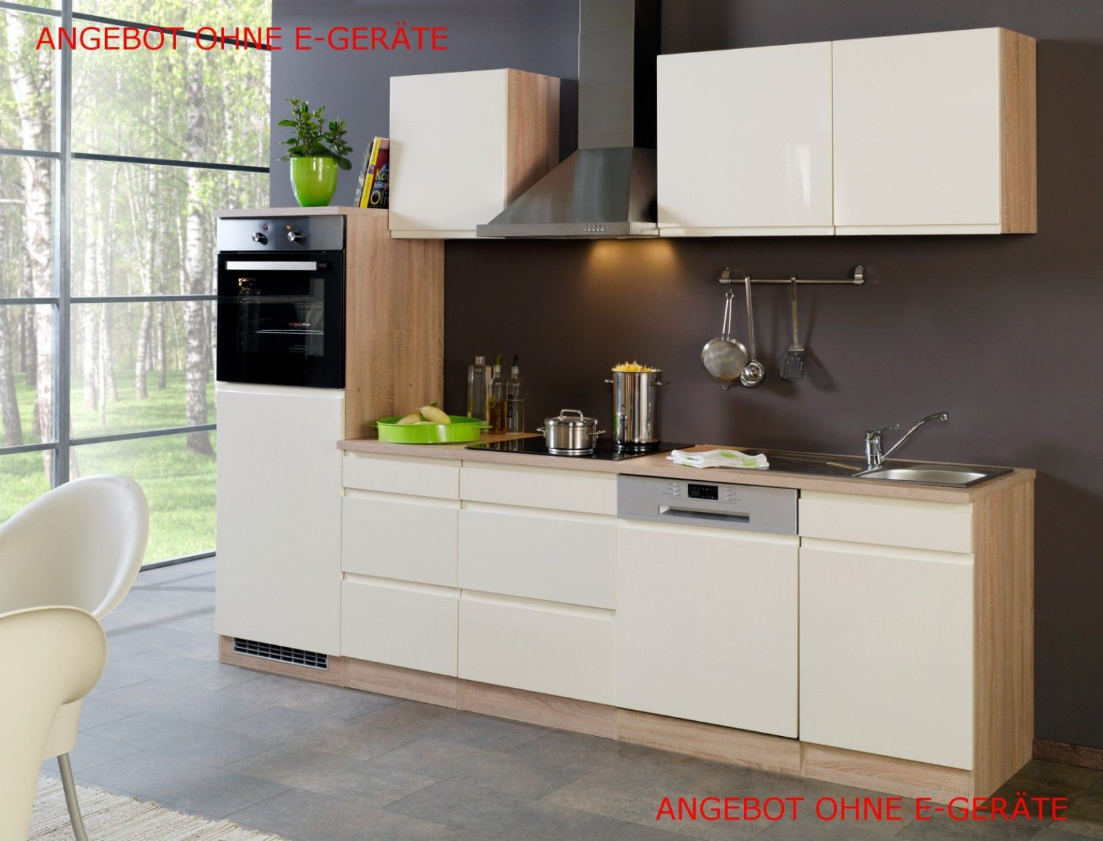Küchenzeile Cardiff  Küchenleerblock  Breite 280 Cm  Hochglanz von Küchenzeile Mit Elektrogeräten Ohne Kühlschrank Bild