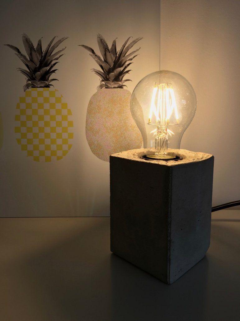 Lampe Mit Sockel Aus Beton Selber Machen Hello Mime Avec Deckenlampe von Glühbirne Lampe Selber Machen Bild