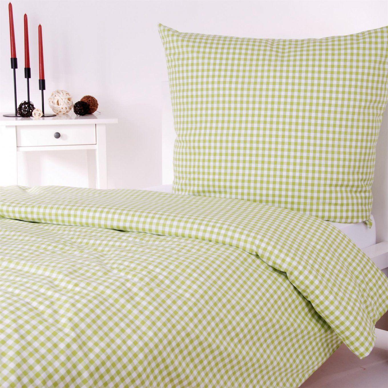 Landhaus Bettwäsche Karo Züchen 1X1 Cm Baumwolle Durchgewebt Kariert von Bettwäsche Grün Kariert Bild