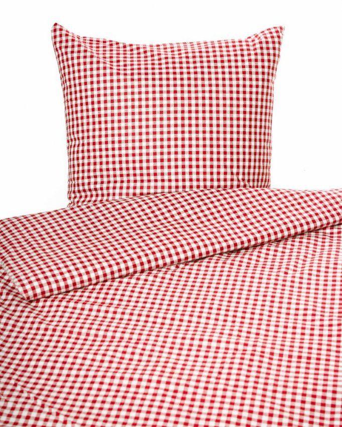 Landhaus Bettwäsche Rotweißkariert Mit Reißverschluss 100 von Bettwäsche Rot Weiß Kariert Bild