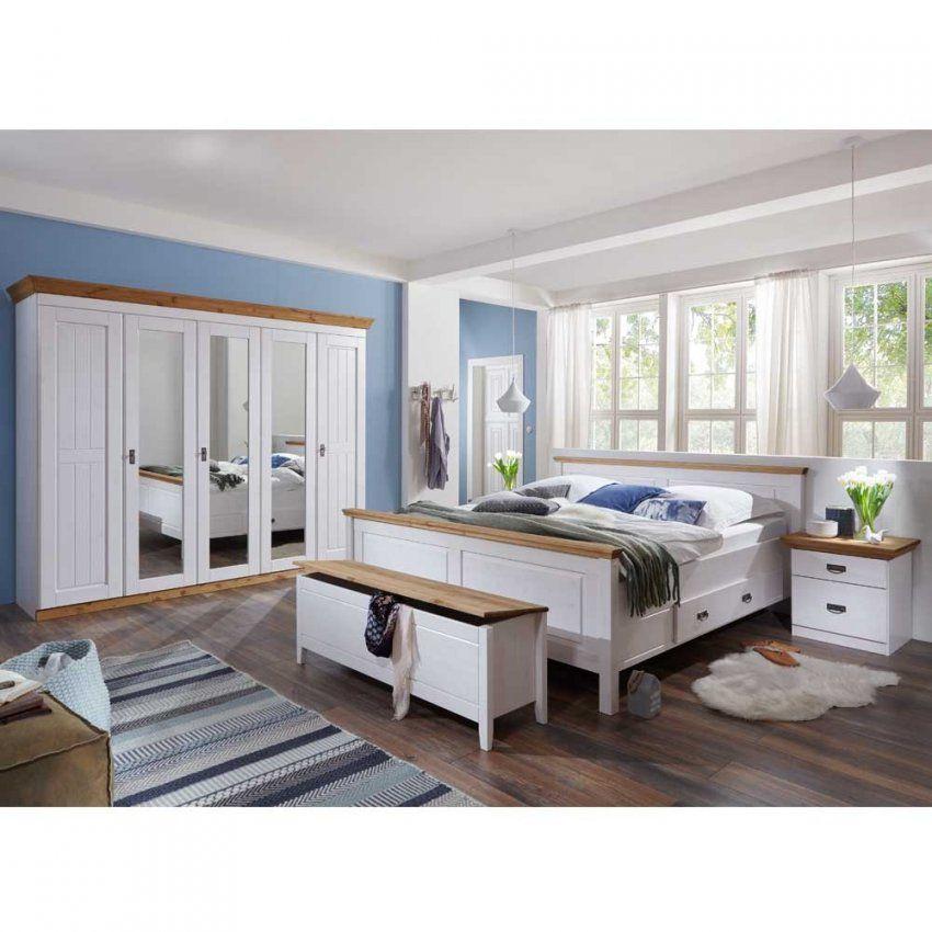 Landhaus Schlafzimmer Sanctos In Weiß Kiefer  Pharao24 von Landhaus Schlafzimmer Komplett Massiv Photo