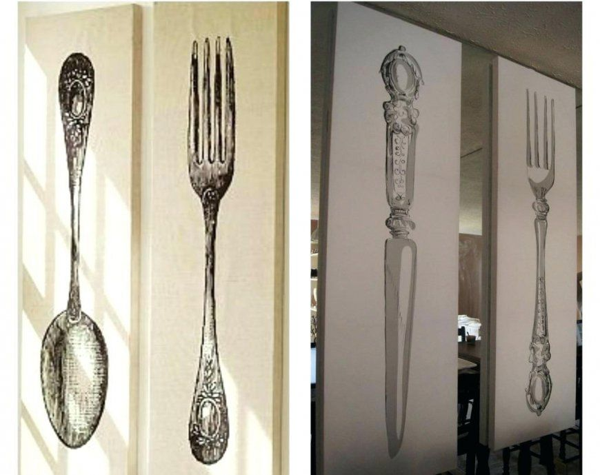 Large Silver Fork And Spoon Wall Decor • Walls Decor von Large Fork And Spoon Photo