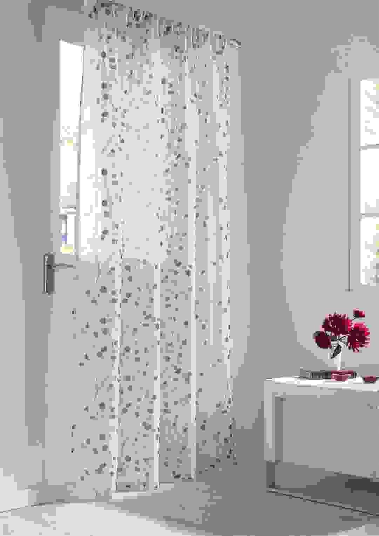 Leinenoptik Floral Lila Weiße Stab Tasche Voile Vorhang Drapierung 3 von Gardinen Lila Weiß Photo