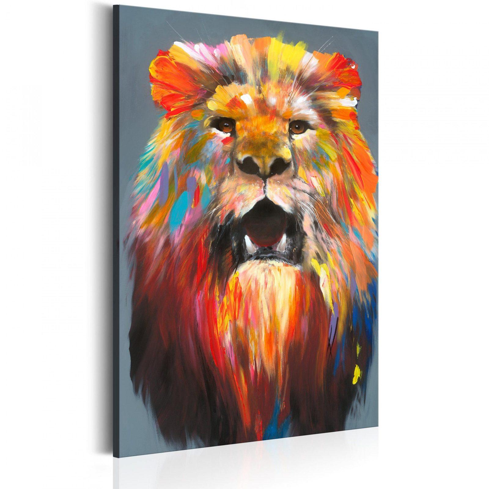 Leinwand Bilder Xxl  Kunstdruck  Bild  Löwe Tier Wie Gemalt Ga von Leinwandbilder Selbst Gemalt Modern Photo