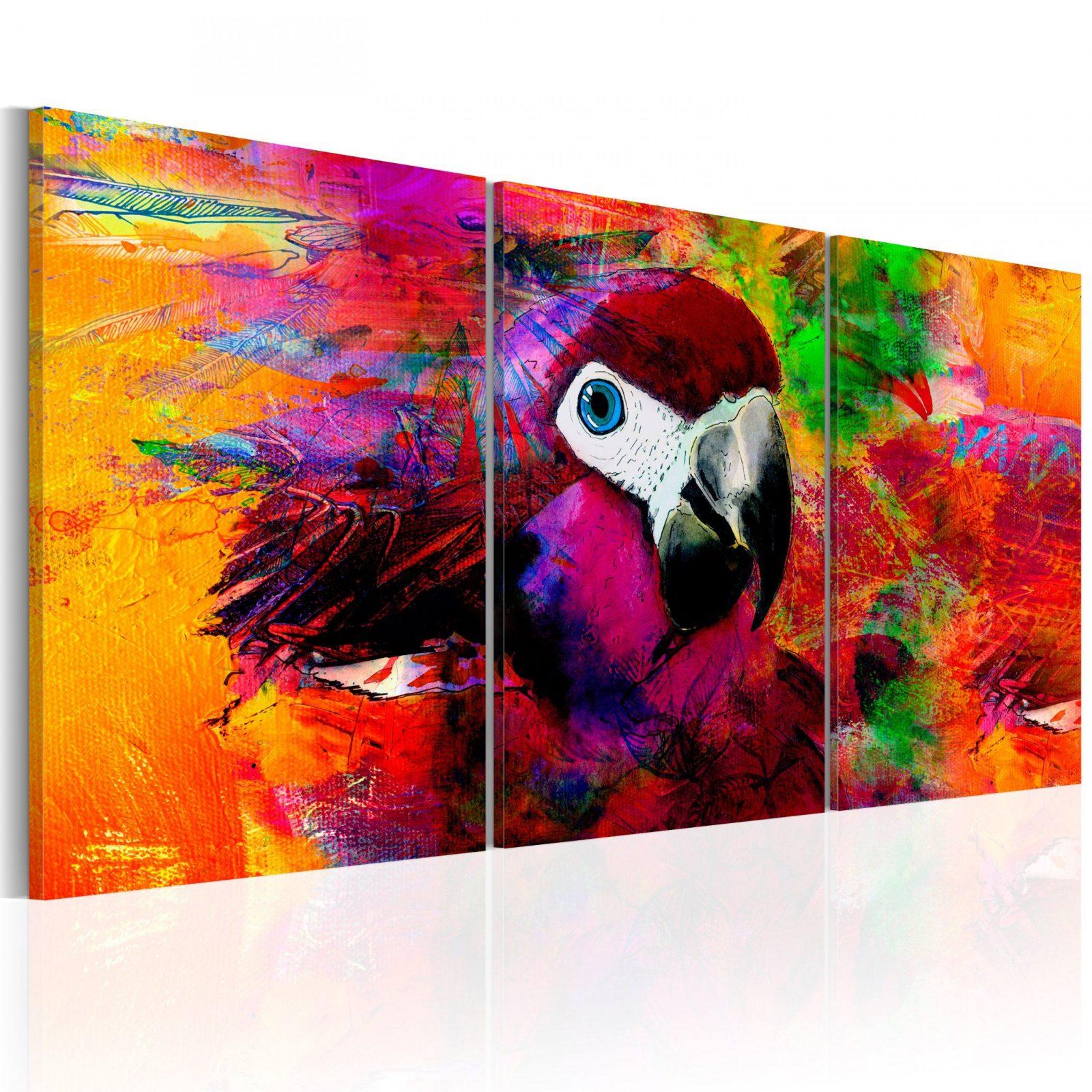 Leinwand Bilder Xxl  Kunstdruck  Bild  Papagei Bunt Vogel Ga von Papageien Bilder Auf Leinwand Photo