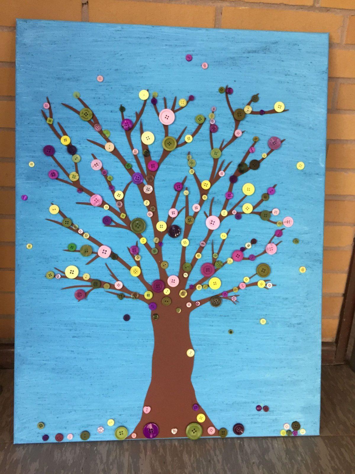 Leinwand Gestalten Mit Kindern Knopf Baum  Selfmade  Pinterest von Leinwand Gestalten Mit Kindern Bild