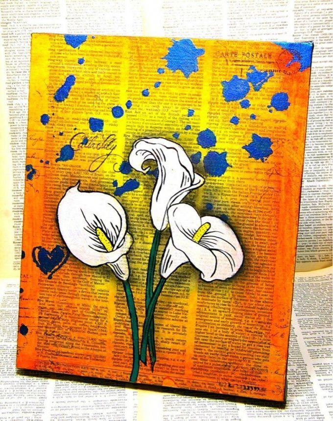 Leinwand Malen Vintage Idee Lilien Orange Gelb Ombre  Staffelei von Acrylbilder Selber Malen Ideen Bild