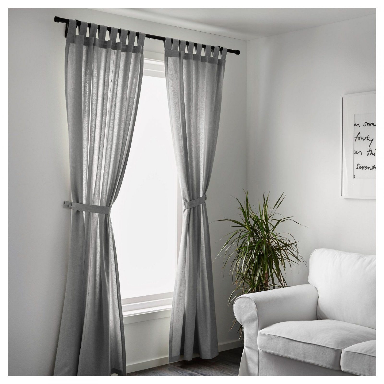 Lenda Curtains With Tiebacks 1 Pair Grey 140X250 Cm  Spaces von Gardinen Raffhalter Ikea Bild
