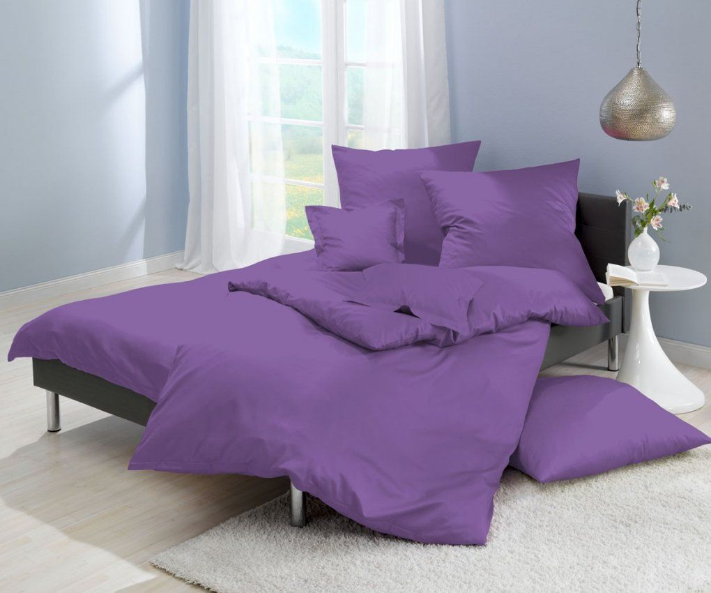 Lorena Einfarbige Bettwäsche Classic Lila Online Kaufen  Bms von Bettwäsche Lila Uni Photo