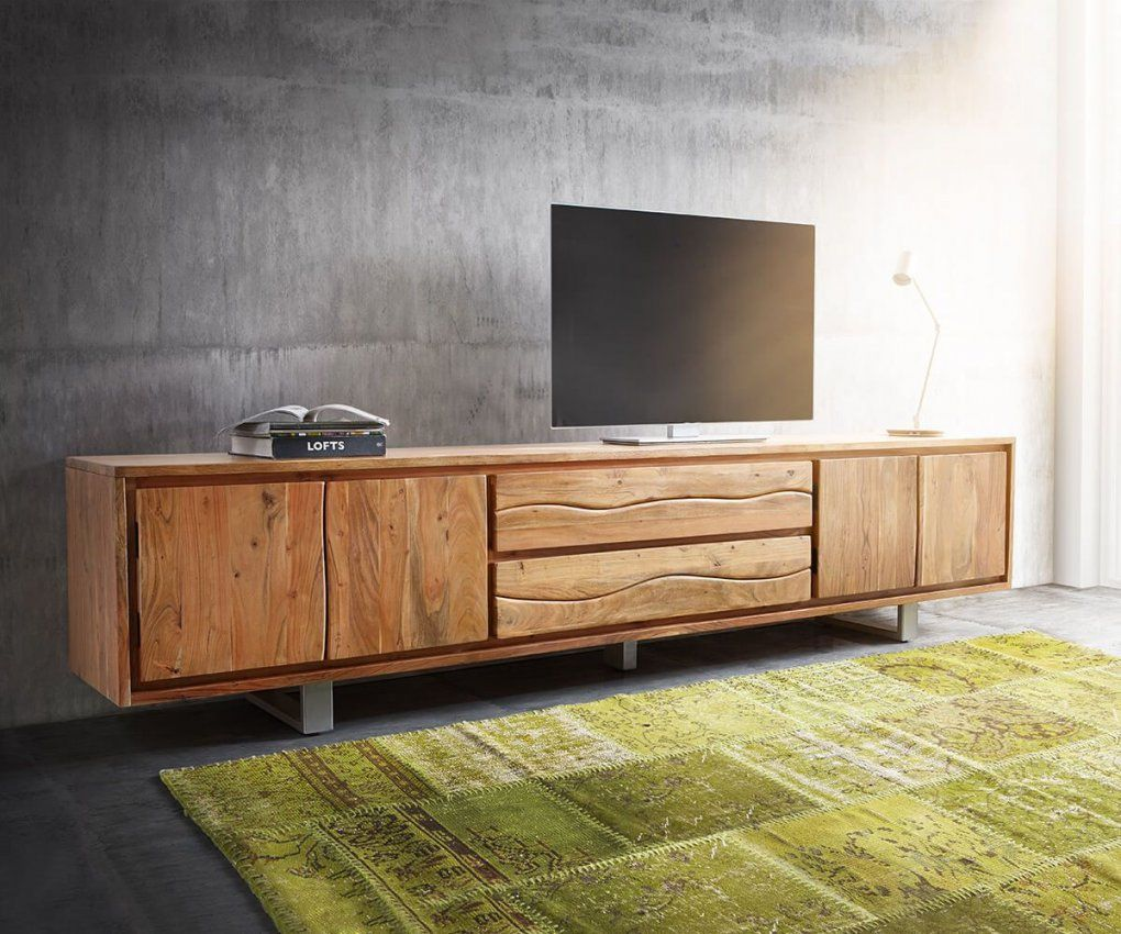 Lowboard Liveedge 300 Cm Akazie Natur 4 Türen 2 Schübe  Tv Tables von Tv Lowboard 300 Cm Photo