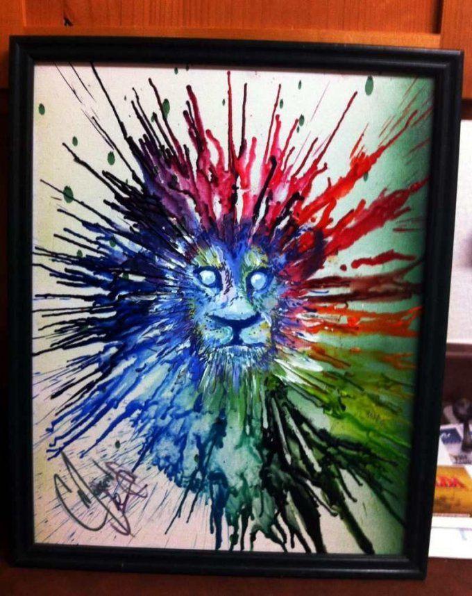 Löwe Auf Leinwand Gestaltet Mit Wachsmalstiften  Kunst  Pinterest von Bilder Auf Leinwand Selber Malen Bild
