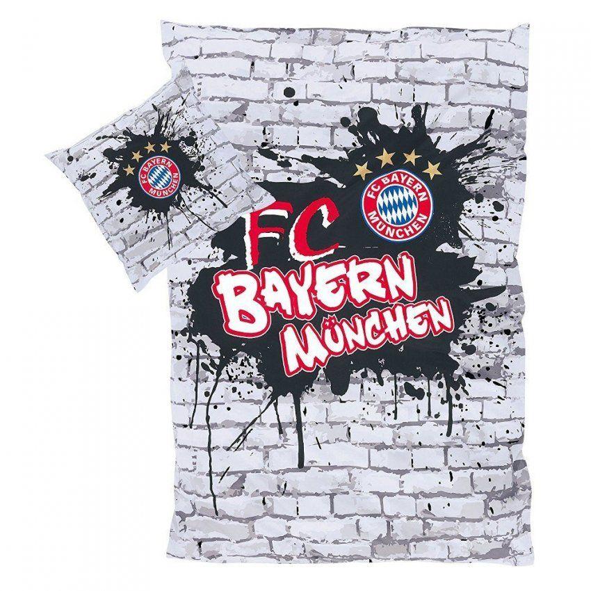 Luleni  Fc Bayern München Bettwäsche Graffiti Grau Größe 135 von Bayern Bettwäsche Günstig Bild