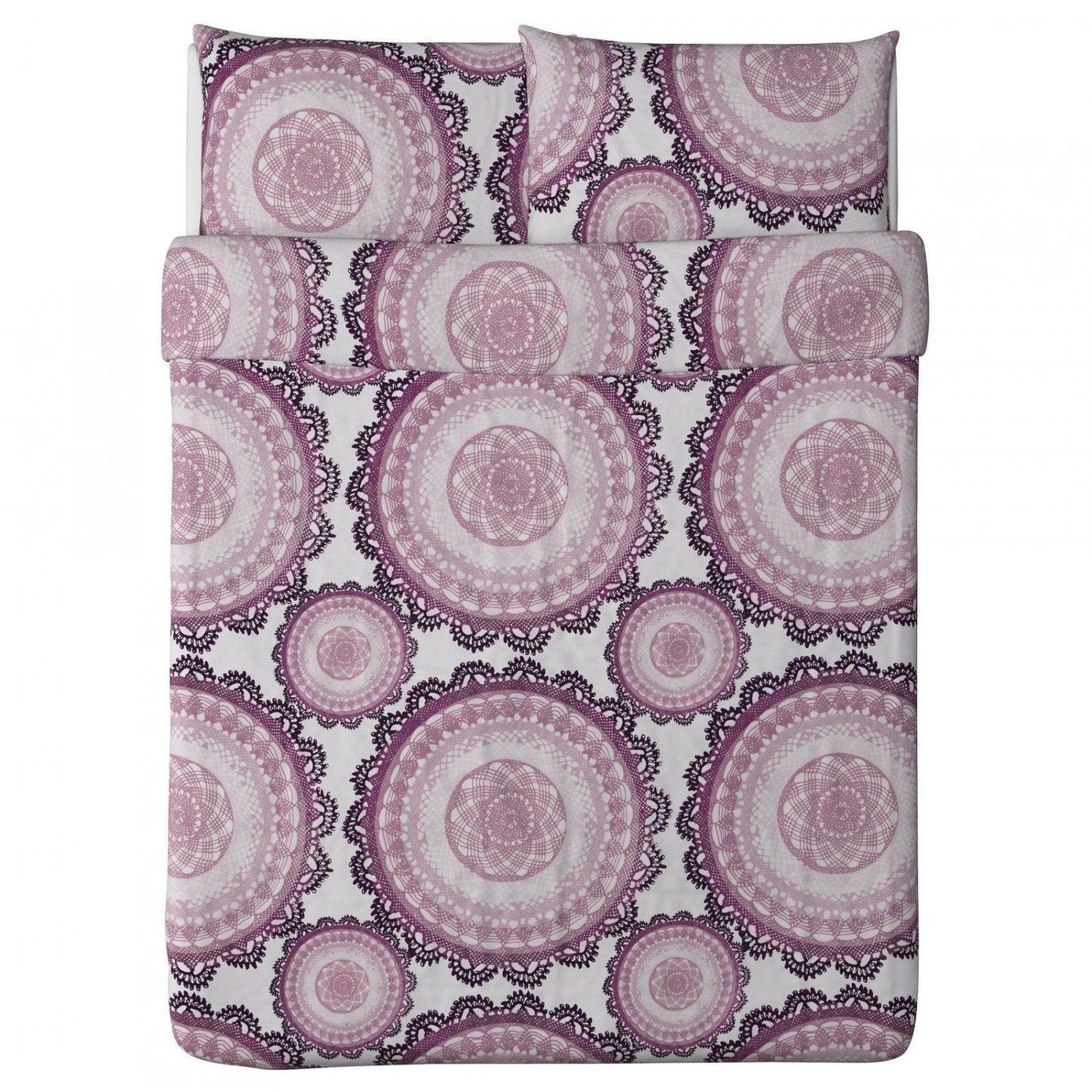 Lyckoax Duvet Cover And Pillowcase(S)  Whitelilac Fullqueen von Ikea Bettwäsche Lila Photo