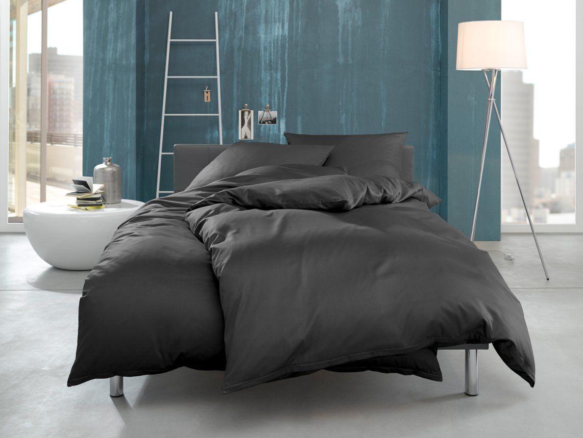 Mako Interlock Jersey Bettwäsche Ina Unieinfarbig Anthrazit Online von Bettwäsche 155X220 Jersey Reißverschluss Bild