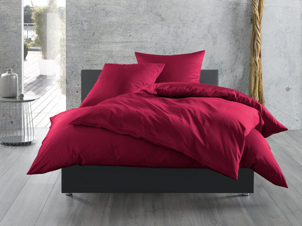Mako Satin Bettwäsche Uni  Einfarbig Pink Online Kaufen  Bms von Glanz Satin Bettwäsche Uni Bild