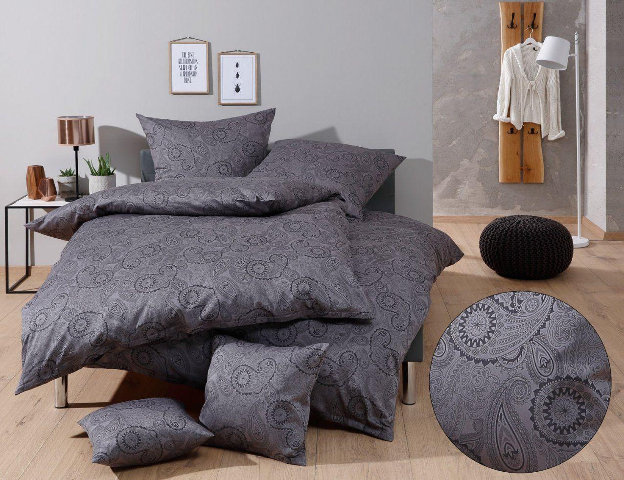 Mako Satin Damast Paisley Bettwäsche Davos Schwarz Online Kaufen von Bettwäsche Mako Satin Grau Bild