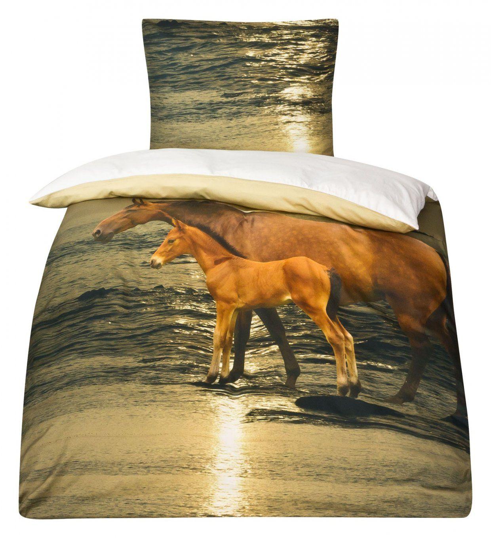 Mako Satin Pferde Bettwäsche Pferdebettwäsche 135X200 Moon von Pferde Bettwäsche 100X135 Bild