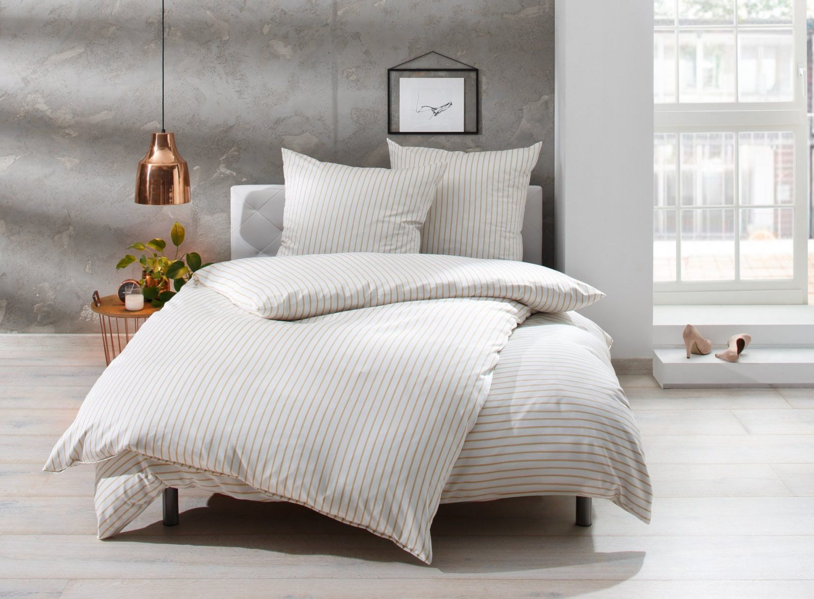 Mako Satin Streifen Bettwäsche Beige Weiß Gestreift Online Kaufen  Bms von Bettwäsche Rot Weiß Gestreift Bild
