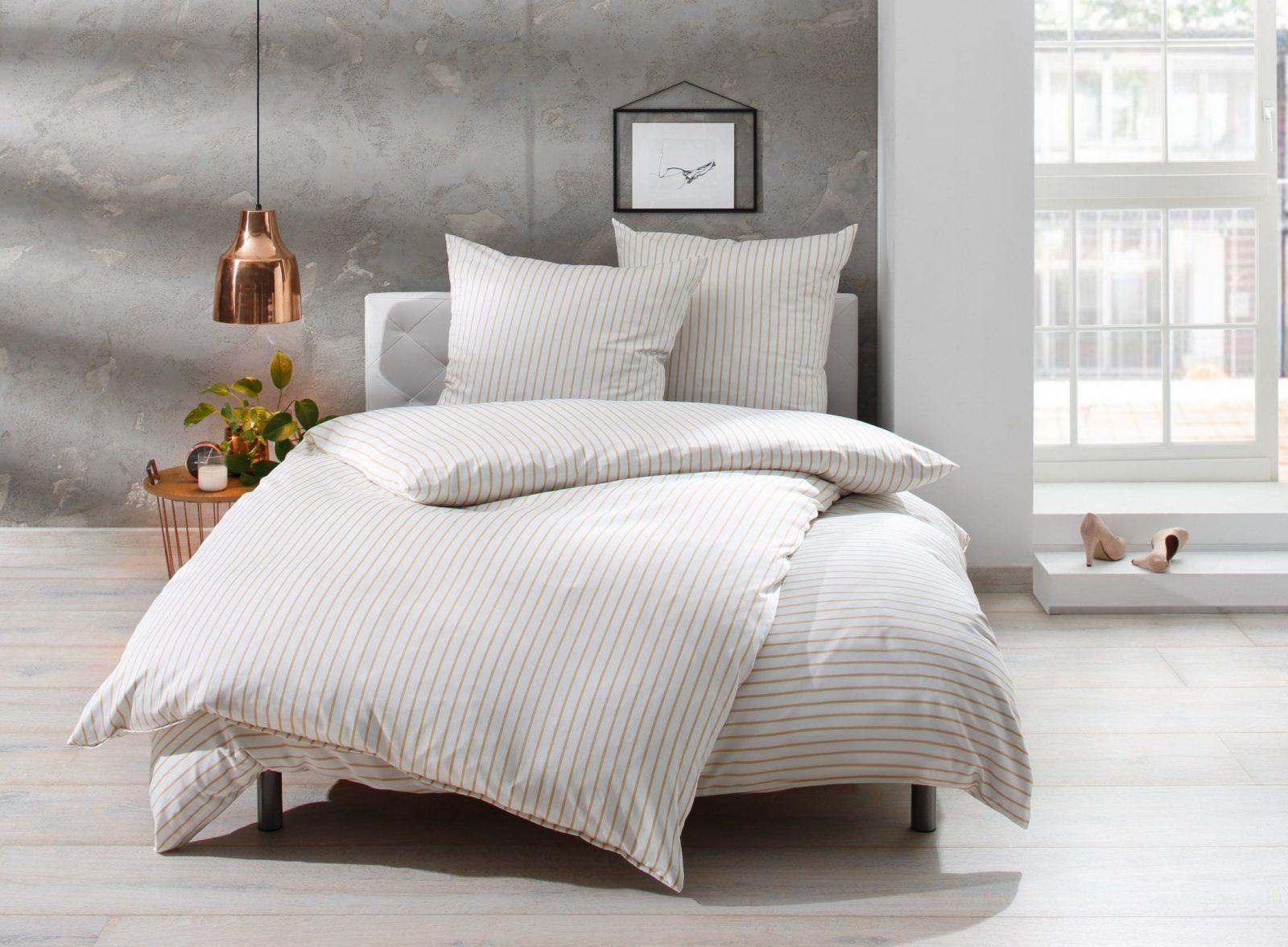 Mako Satin Streifen Bettwäsche Beige Weiß Gestreift Online Kaufen  Bms von Flanell Bettwäsche 240X220 Photo