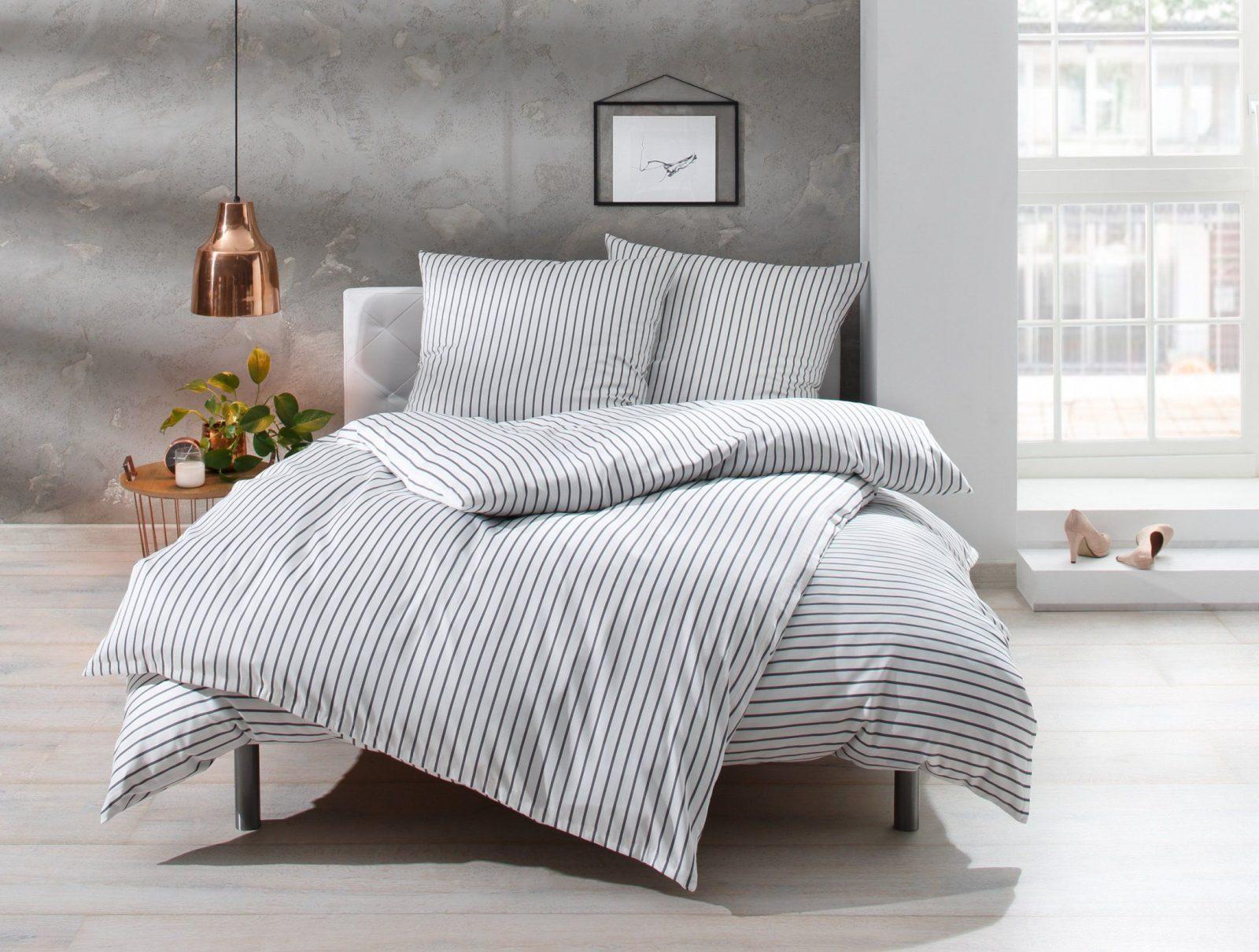 Mako Satin Streifen Bettwäsche Grau Weiß Gestreift Online Kaufen  Bms von Bettwäsche Türkis Grau Bild