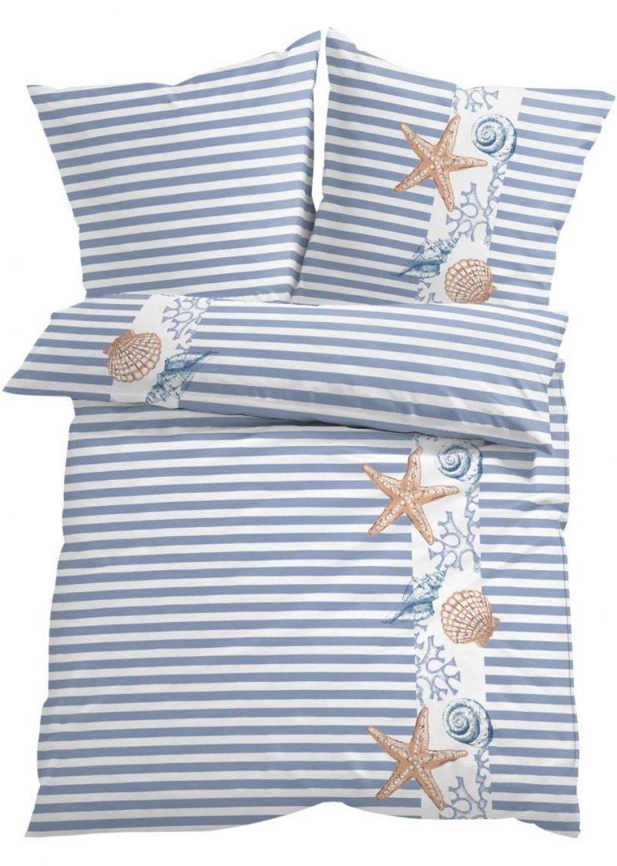 Maritimer Hingucker Bettwäsche Mit Streifen Und Muscheln  Blau von Maritime Bettwäsche Günstig Bild