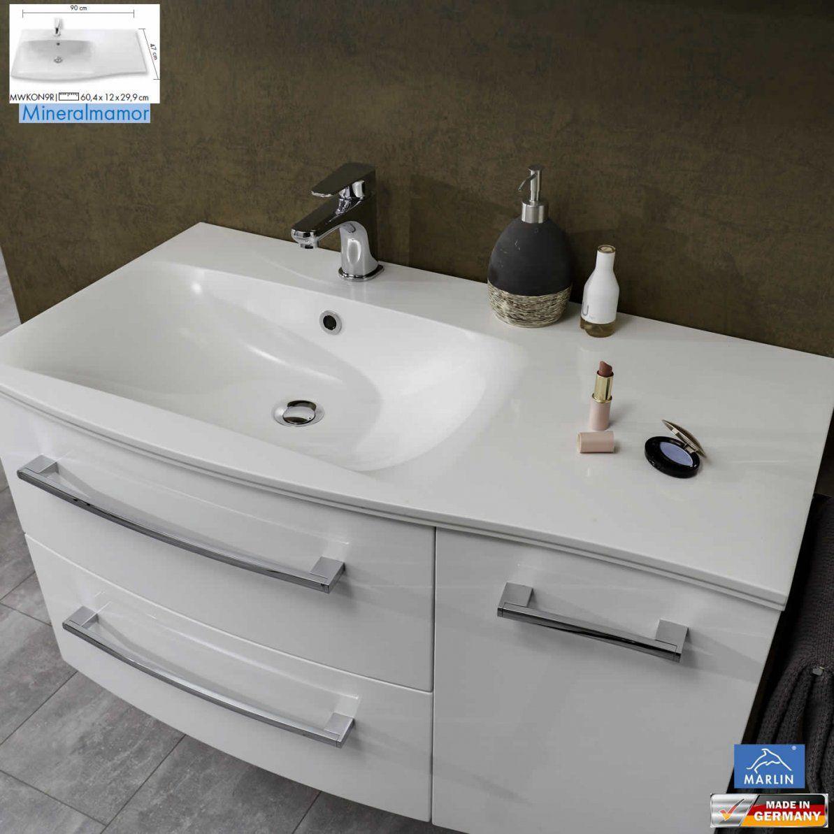 Marlin 3120 Waschtischset  90 Cm  Mineralmarmor + Unterschrank 2 von Keramik Waschtisch Mit Unterschrank 90 Cm Photo